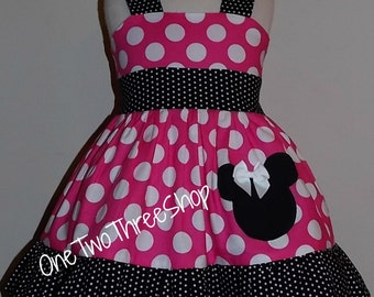 Minnie Mouse Custom Boutique Clothing Med Pink Sassy Girl Dress