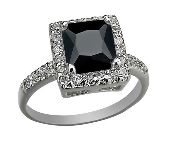 Cubic Zirconia Wedding Bands: Black Onyx Cubic Zirconia Engagement Ring Anniversary Ring