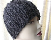 Super Warm, SOFT Chunky Beanie Ski Hat Hand Knit in Charcoal Grey Wool blend