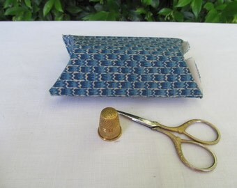 Blue and cream fabric covered box