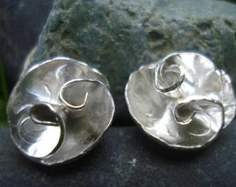 Rose flower stud earrings; Handmade, sterling silver