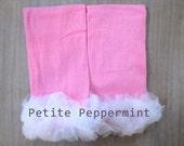 Baby Leg Warmers, Baby Leggings - Pink with white ruffle leg warmers
