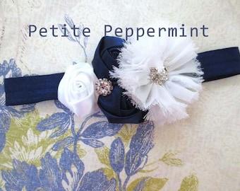 Baby headband, baby girl headband, newborn headband, toddler headband, baby flower headband - Navy Blue and White Flower Headband