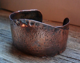 Hammered Textured Mens Womens Copper Cuff Bracelet