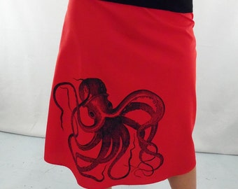 Octopus Print Red Skirt - Aline Cotton Skirt - Silk Screen Printed to Order