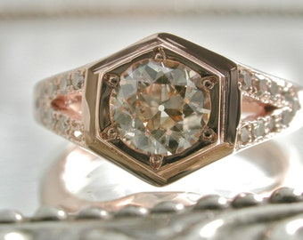 Rose Gold Ring Band, Unisex Ring Vintage Diamond Ring, Antique Diamond, Diamond Engagement Ring, Conflict Free Diamond Vintage Jewelry Style