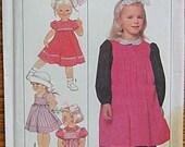 Vintage Children's, Girl's Dress, Sundress, Jumper, Pinafore, Simplicity 9281 Sewing Pattern UNCUT Size 5