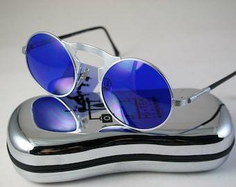 Round sunglasses Steampunk sunglasses unisex vintage round silver metal sunglasses cobalt blue lens John Lennon style