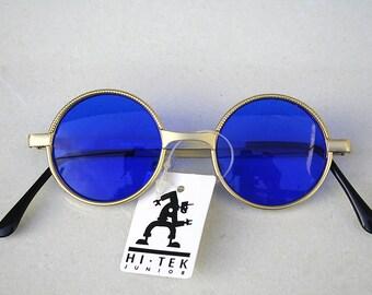 round Retro Victorian gold metal glasses spectacles cobalt blue lens Hi Tek small Ozzy Osbourne style