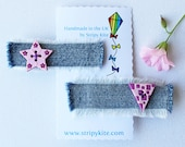 Candy Pink Triangle and Star Hair Accessory. Pair of pink hair clips  starshaped hair clips  cute gift for girls!