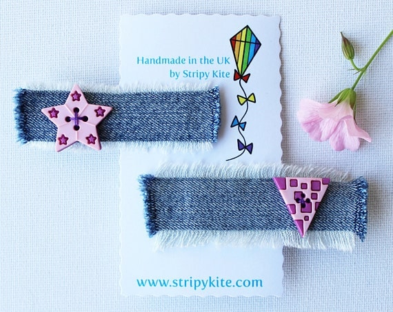 Candy Pink Triangle and Star Hair Accessory. Pair of pink hair clips - star-shaped hair clips - cute gift for girls!