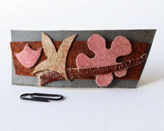 Winter Windfall Medium Chunky Hair Clip - Individually Designed Leather Barrette Hair Accessory