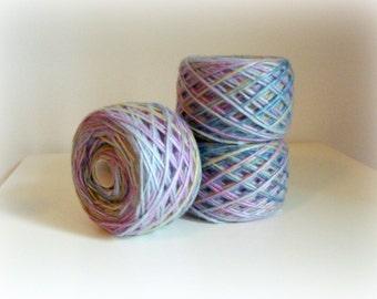 Wool Silk Yarn - Hand Knitting - Knitting Baby Yarn - Pastel Sky Blue Pink Yellow Printed - One Ball 120g - Soft yarn