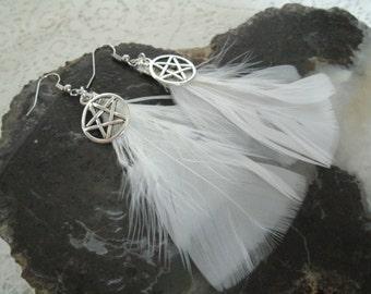 Pentacle Feather Earrings, wiccan jewelry pagan jewelry wicca jewelry witch metaphysical witchcraft pentagram goddess magic wiccan earrings