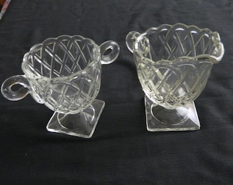 Indiana Glass Pretzel pattern Footed Sugar Bowl and Creamer / Crystal