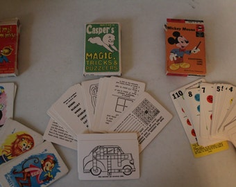 Vintage Travel Cards- Lot of three Decks-  Games, Puzzels, and Tricks - From Mickey Mouse, Casper and Animal Rummy