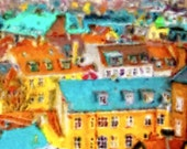 SALE Watercolor Painting Print COPENHAGEN ROOFTOPS Giclee 8x10 Colorful Art Europe City