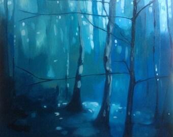 Original framed oil painting- blue woodland