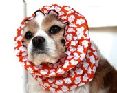Halloween Ghosts Dog Snood - Stay-Put 3 Rows Elastic Thread - Long Ear Coverup - Cavalier King Charles or Cocker Snood