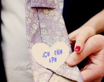 Bride-Groom Memorial Heart for loved ones, embroidered with their monogram . Heart shaped w/monograms for bridal gown, Wedding Gift ideas