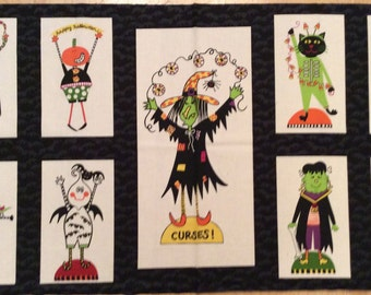 A Halloween Holiday Bewitched With Witches And Spiders Fabric Panel Free US Shipping