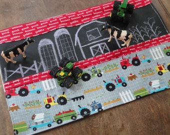 Chalkboard Farm and Tractors Caddy Roll up Tote