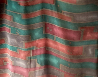Silk Yardage Fabric Hand Dyed blue red pink mauve