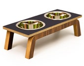 Mid Century Modern Elevated Pet Feeder // Six Retro Colors // Cat & Dog Dishes