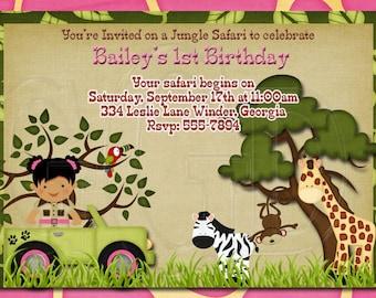 PINK Jungle Safari Zoo Birthday Invitation-Digtial File