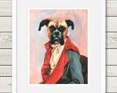 Boxer Art - Boxer Watercolor Painting Print - Dog Art, boxer dog portrait, dog home decor, dog gift