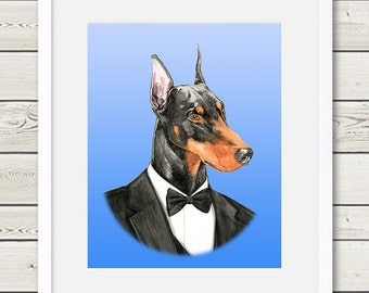 Doberman Art - Doberman Groom Dog Portrait Painting - Wedding Dog Art, doberman painting, dog home decor