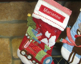 Red Train Stocking Pottery Barn Quilted Stocking ---  RED TRAIN ---  Free Monogram