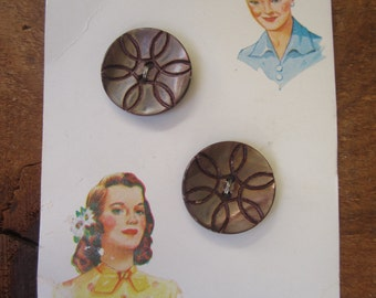 Vintage Brown Pearl Buttons (6)  Lot of shell buttons, Luckyday Vintage carved flower button lot brown buttons circle flowers button cards