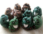 Peruvian Ceramics Green Brown Frog  Pendant Bead Craft Supplies Jewelry Making Bead Supplies Ceramic Beads (2)
