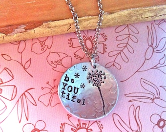 Sale-Be YOU tiful-hand stamped necklace