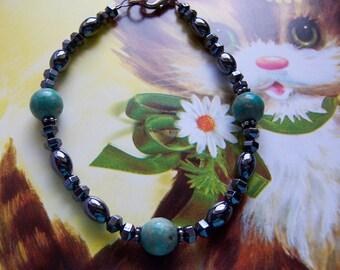 turquoise and onyx bracelet