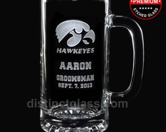 Groomsmen Beer Mugs - College FOOTBALL WEDDING BEER Mugs - Gifts for Best Man Groomsmen Usher - 16 oz Etched Glass - Ships to Canada