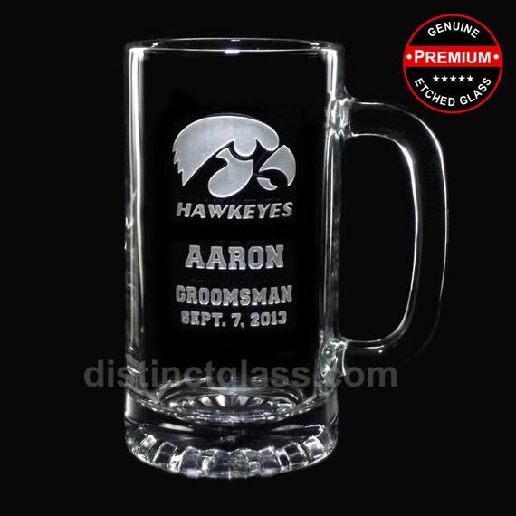 Groomsmen Beer Mugs - College FOOTBALL WEDDING BEER Mugs - Gifts for Best Man Groomsmen Usher - 16 oz Etched Glass - Ships to Canada