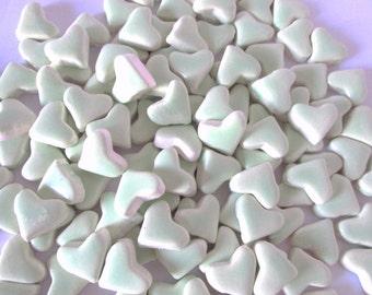 Mosaic Tiles- Pastel Seafoam Green heart tiles, Small ceramic mosaic tiles - Handmade