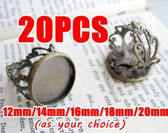 20 Filigree Ring Base- Brass Antique Bronzed Filigree Ring W/ 12mm/ 14mm/ 16mm/ 18mm/ 20mm Round Bezel Cabochon Mounting- Z6108a