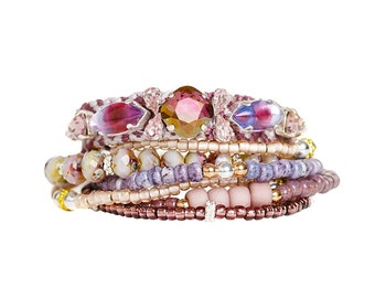Luxury embellished multistrand bracelet set - Gypsy style hippie bracelet in mauve / purple - stacking bracelet with vintage sabrina glass