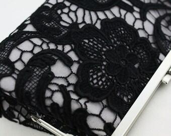 Black Lace Clutch / Wedding Gift / Bridal Clutch / Bridesmaid Purse Clutch - 8 inches Christine Style Clutch