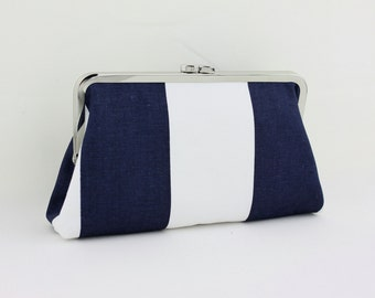 Navy & White Stripes Bridesmaid Clutch / Everyday Purse Clutch - the Christine Style Clutch