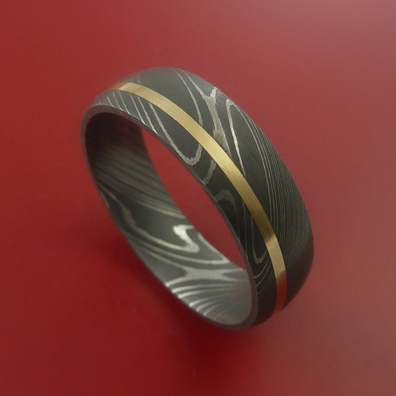 damascus steel 14k yellow gold ring wedding by