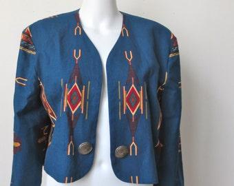 Vintage 1980s Blue  Southwest Jacket