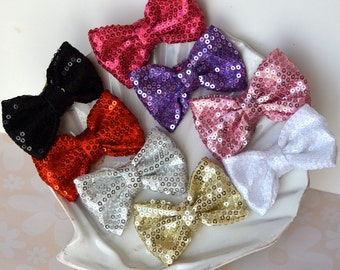 Sparkly Sequin Fancy Fabric Hair Bow- Red, Black, Silver, Gold, Pink, Purple, or White