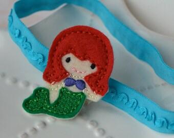 Red Haired Little Mermaid Headband Ariel Inspired with Aqua Ruffled Headband
