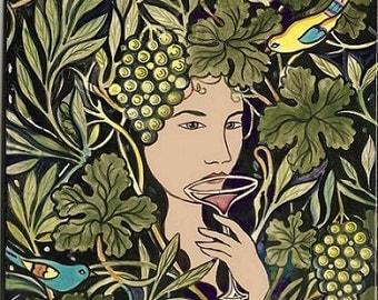 Goddess Sipping Wine Art Tile