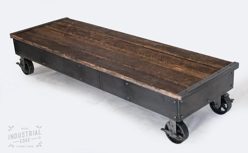 Reclaimed Wood Steel Rolling Coffee Table Rolling Cart
