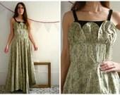 1950's Vintage Jaqucard & Velvet Full Length Evening Prom Dress Size Medium